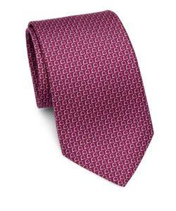 Salvatore Ferragamo   Two-Tone Horseshoe Print Silk Tie