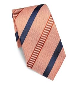 Isaia | Textu Striped Silk Tie