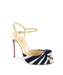 CHRISTIAN LOUBOUTIN | Eponge 100 Knotted Peep Toe Ankle-Strap Sandals