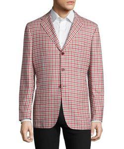 Kiton   Check-Print Cashmere Linen Silk Blazer