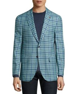 Isaia | Gingham Checked Single-Breasted Wool-Blend Blazer
