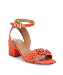 Michael Kors Collection | Sam Jeweled Jacquard Block Heel Sandals