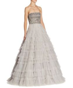 J. Mendel | Strapless Tiered Gown