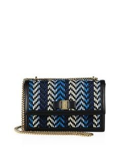 Salvatore Ferragamo | Ginny Chevron Leather Chain Shoulder Bag