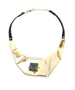Alexis Bittar | Elements Lucite Leather Liquid Geometric Bib Necklace
