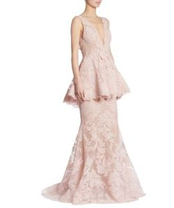 Marchesa | Peplum Lace Gown