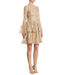 Marchesa Notte | Embroidered Bell Sleeve Dress