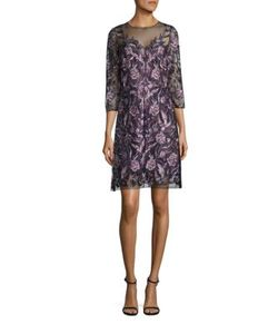 Marchesa Notte | Embroidered Illusion Neck Dress