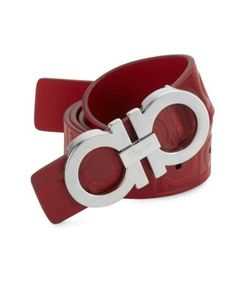 Salvatore Ferragamo | Double Gancini Rosso Leather Belt