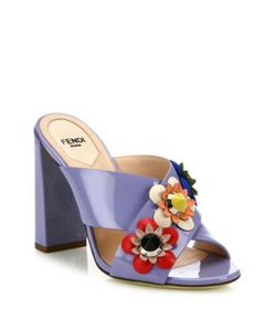 Fendi | Flowerland Embellished Patent Leather Mules
