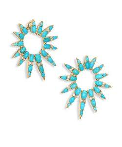 Nikos Koulis | Spectrum Diamond Turquoise Hoop Earrings/1.5