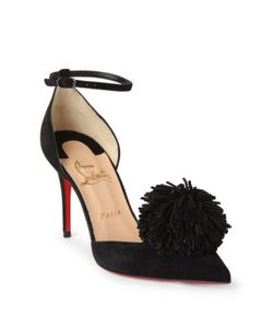 CHRISTIAN LOUBOUTIN | Tsarou 100 Suede Dorsay Ankle-Strap Pumps