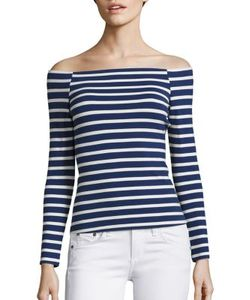 L'agence | Cynthia Striped Off-The-Shoulder Top