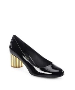 Salvatore Ferragamo | Lucca Patent Leather Flower Heel Pumps