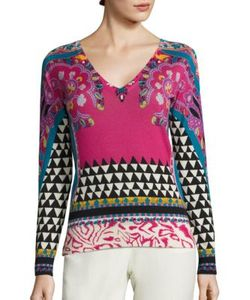Etro | Geo Paisley-Print Silk Cashmere Sweater