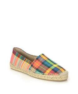 Off-White | Plaid Leather Slip-On Espadrille Sneakers