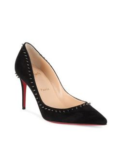 CHRISTIAN LOUBOUTIN | Anjalina Spiked Suede Point Toe Pumps
