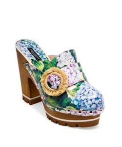 Dolce & Gabbana | Raffia-Detail Hydrangea-Print Wooden Clogs