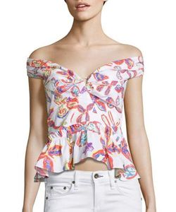 Peter Pilotto | Printed Off-The-Shoulder Peplum Top