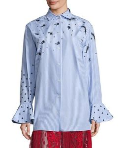 Valentino   Embroide Button Front Top