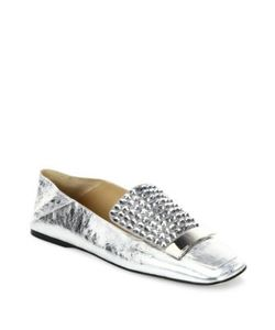 Sergio Rossi | Sr1 Jeweled Leather Slippers