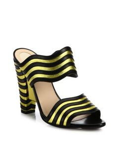 Fendi | Waves Striped Leather Mules