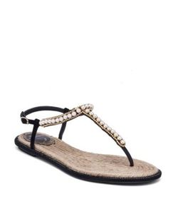 Rene Caovilla | Pearly Leather T-Strap Sandals