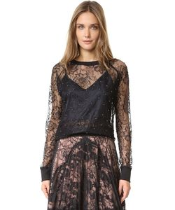 Loyd/Ford | Lace Sweatshirt Top With Imitation Pearls