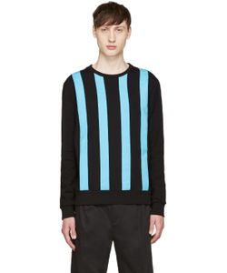 Giuliano Fujiwara | Black And Turquoise Striped Pullover
