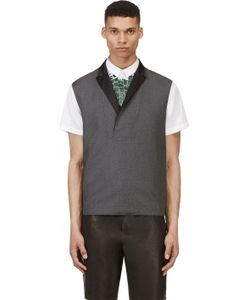 Kris Van Assche | Grey Wool Diamond Pinstripe Vest