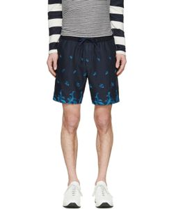 Undecorated Man | Blue Embroidered Floral Shorts