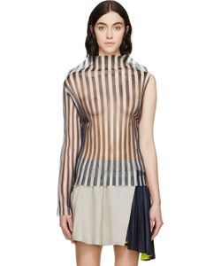 Thomas Tait | Navy Striped Single-Sleeve Ghost Blouse