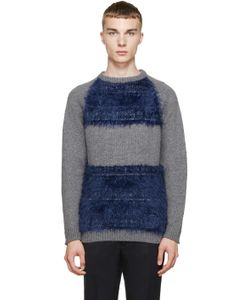 Undecorated Man | Grey And Blue Colorblocked Sweater