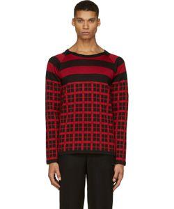 Christian Dada   Black And Red Check Knit Shirt