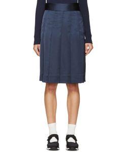 Nomia | Navy Pleated Satin Skirt