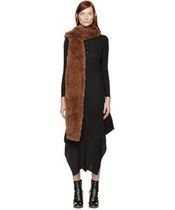 Meteo By Yves Salomon | Brown Hooded Rabbit Scarf