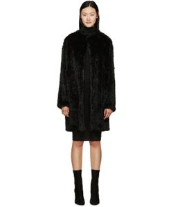 Meteo By Yves Salomon | Black Knit Fur Coat