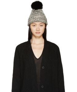 Meteo By Yves Salomon | Black And White Fur Pom-Pom Toque