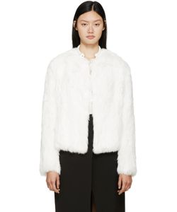 Meteo By Yves Salomon | White Knit Fur Jacket