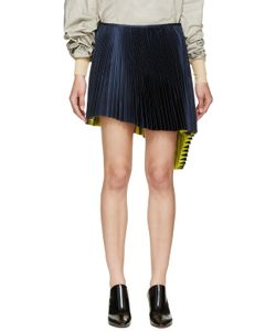 Thomas Tait | Navy Pleated Asymmetrical Skirt
