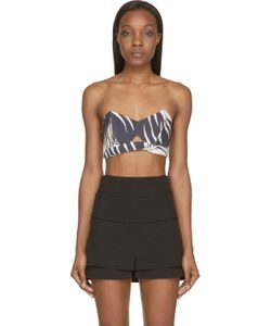 Osklen Praia | Ecru And Black Linen California Leaves Bandeau