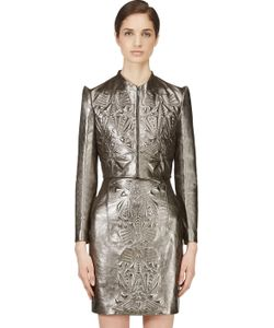 Iris Van Herpen | Pewter Cropped Embossed Leather Jacket