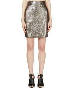 Iris Van Herpen | Pewter Embossed Leather Mini Skirt