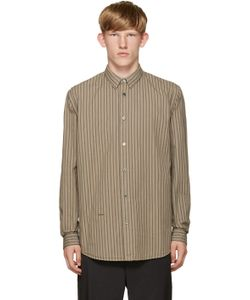 Robert Geller   Beige Striped Vintage Shirt