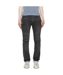 Balmain   Grey Distressed Biker Jeans