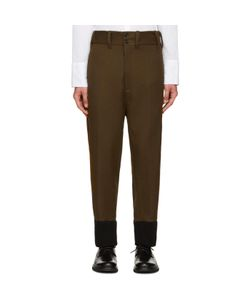 Ann Demeulemeester   Green Ribbed Cuff Trousers