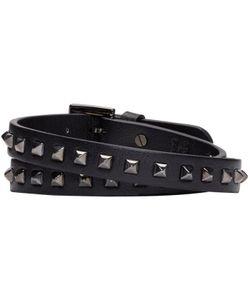 Valentino | Black Leather Wrap Rockstud Bracelet