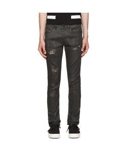 Off-White | Black Distressed Coated Jeans