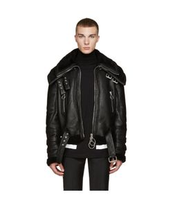 Off-White | Black Shearling Double-Collar Jacket