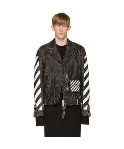 Off-White | Black And White Leather Biker Jacket